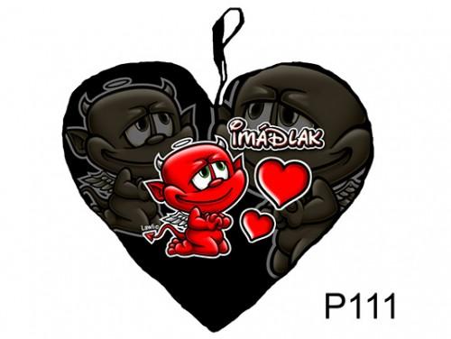 (P111) Párna Kis Szív 25cm - Imádlak ördög – Szerelmes Ajándékok