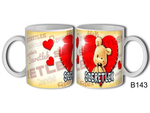 (B143) Bögre 3 dl - Szeretlek Varrott maci – Szerelmes pároknak ajándék