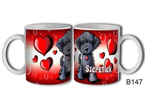 (B147) Bögre 3 dl - Fekete kutyus – Szerelmes pároknak ajándék