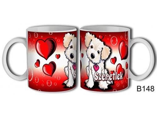 (B148) Bögre 3 dl - Világos kutyus – Szerelmes pároknak ajándék