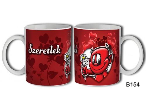 (B154) Bögre 3 dl - Szeretlek Virágos ördög – Szerelemes bögre – Szerelmes pároknak ajándék