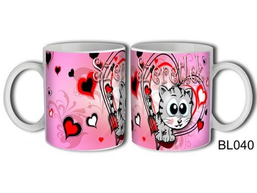 (BL040) Bögre 3 dl - Szeretlek Szürke Cica – Szerelemes bögre – Szerelmes pároknak ajándék