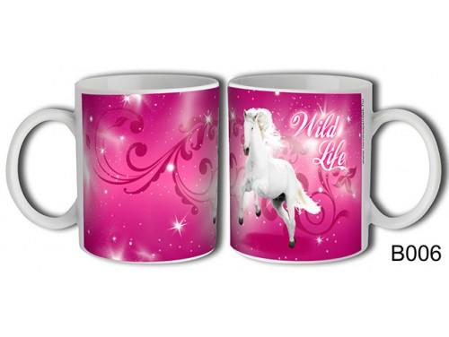 (B006) Bögre 3 dl - Fehér ló Wild Life - Lovas ajándék