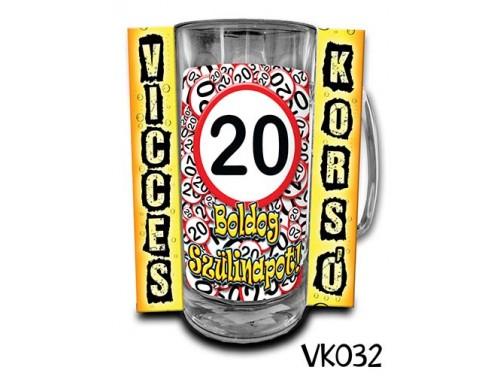 (VK032) Vicces Korsó 0,33 L - 20 Boldog Szülinapot – Szülinapi ajándékok