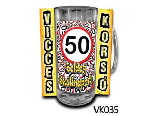 (VK035) Vicces Korsó 0,33 L - 50 Boldog Szülinapot – Szülinapi ajándékok