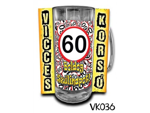 (VK036) Vicces Korsó 0,33 L - 60 Boldog Szülinapot – Szülinapi ajándékok