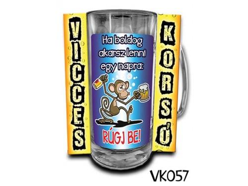 (VK057) Vicces Korsó 0,33 L - Ha boldog akarsz lenni – Vicces Ajándék