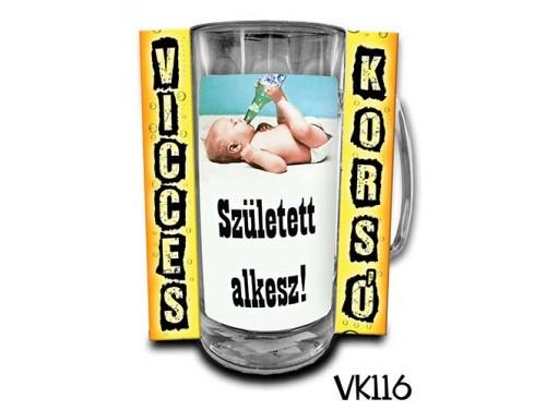 (VK116) Vicces Korsó 0,33 L - Született alkesz – Vicces Ajándék