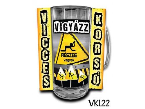 (VK122) Vicces Korsó 0,33 L - Vigyázat részeg vagyok – Vicces Ajándék