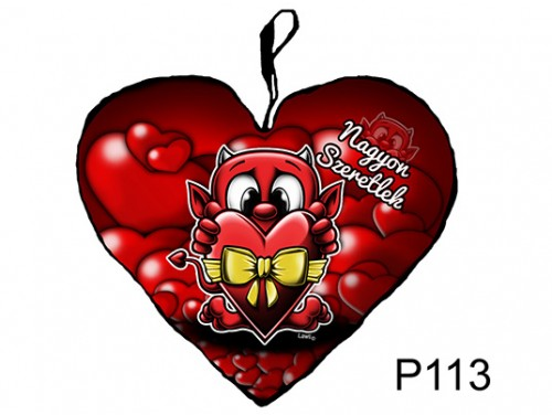 (P113) Párna Kis Szív 25cm - Nagyon szeretlek ördög – Szerelmes Ajándékok