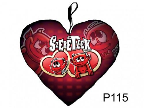 (P115) Párna Kis Szív 25cm - Dupla szív ördögök – Szerelmes Ajándékok