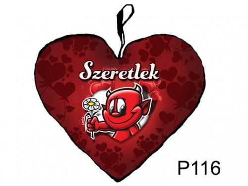 (P116) Párna Kis Szív 25cm - Virágos ördög – Szerelmes Ajándékok