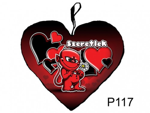 (P117) Párna Kis Szív 25cm - Szirmos ördög – Szerelmes Ajándékok