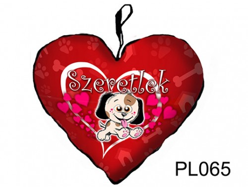(PL065) Párna Kis Szív 25cm - Szeretlek kutyus - Szerelmes Ajándékok