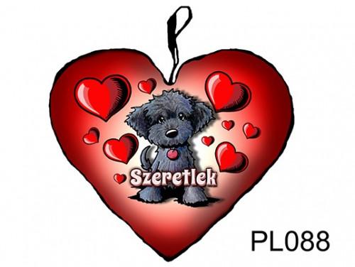 (PL088) Párna Kis Szív 25cm - Fekete kutyus - Szerelmes Ajándékok