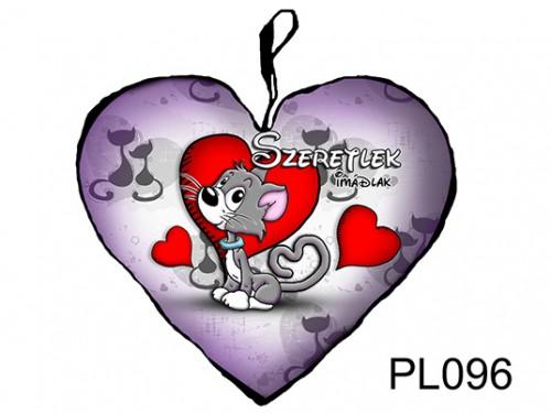 (PL096) Párna Kis Szív 25cm - Szürke cica - Szerelmes Ajándékok