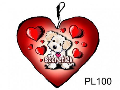 (PL100) Párna Kis Szív 25cm - Világos kutyus - Szerelmes Ajándékok