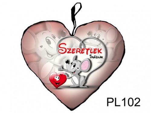 (PL102) Párna Kis Szív 25cm - Egérke - Szerelmes Ajándékok