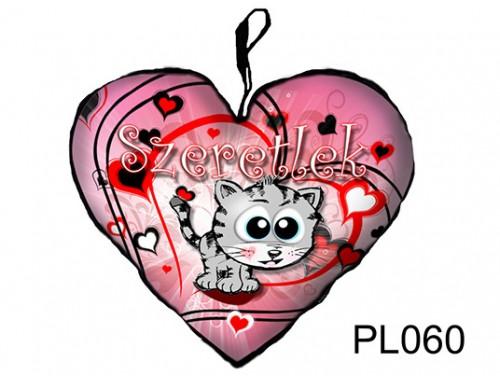 (PL060) Párna Nagy Szív 45cm - Szürke cica - Szerelmes Ajándékok