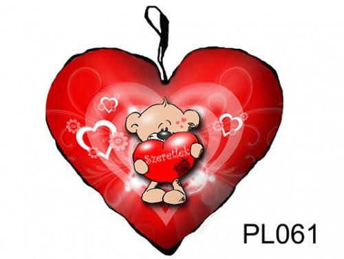 (PL061) Párna Nagy Szív 45cm - Macika - Szerelmes Ajándékok
