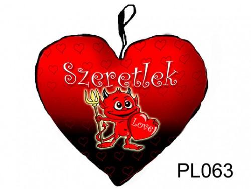 (PL063) Párna Nagy Szív 45cm - Kedves ördög - Szerelmes Ajándékok