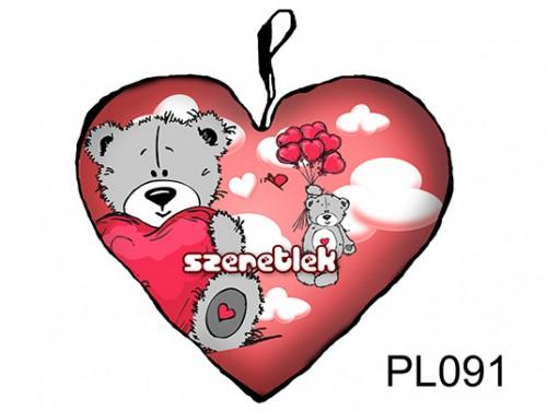 (PL091) Párna Nagy Szív 45cm - Maci felhők közt - Szerelmes Ajándékok