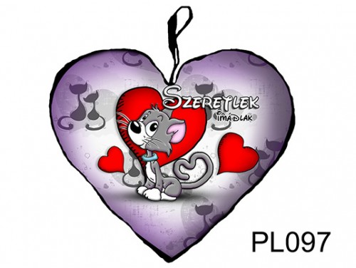 (PL097) Párna Nagy Szív 45cm - Szürke cicus - Szerelmes Ajándékok