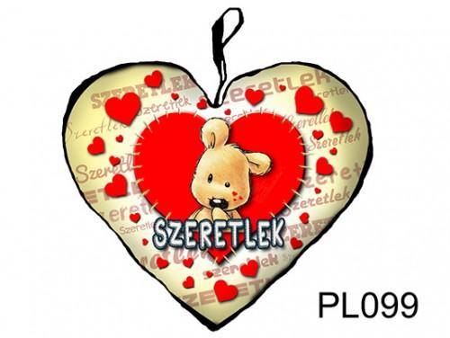 (PL099) Párna Nagy Szív 45cm - Varrott maci - Szerelmes Ajándékok
