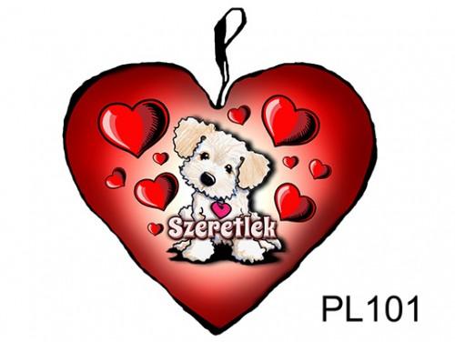(PL101) Párna Nagy Szív 45cm - Világos kutyus - Szerelmes Ajándékok