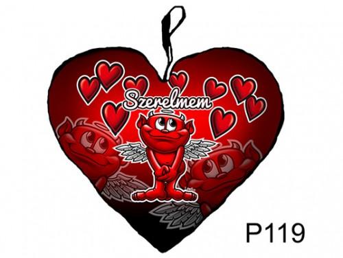 (P119) Párna Nagy Szív 45cm - Szerelmem ördög – Szerelmes Ajándékok