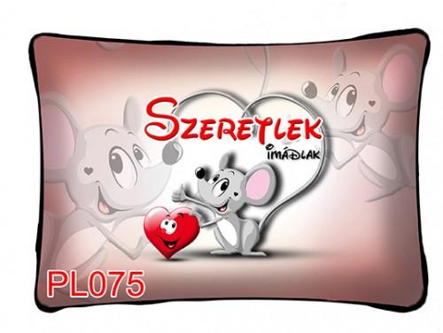 (PL075) Párna 37 cm x 27 cm - Szeretlek Egérke - Szerelmes Ajándékok