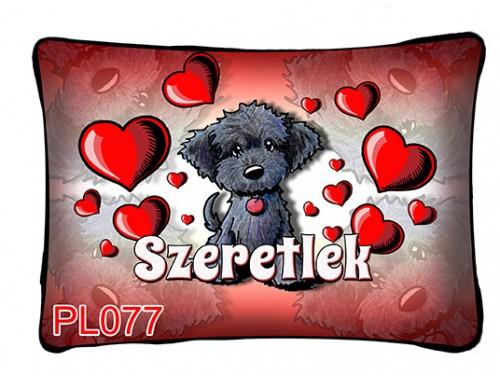 (PL077) Párna 37 cm x 27 cm - Fekete kutyus - Szerelmes Ajándékok