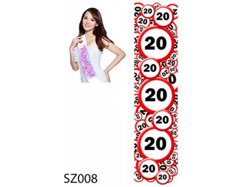 (SZ008) Vállszalag 10 cm x 80 cm - 20-as karikás - 20. Szülinapi vállszalag