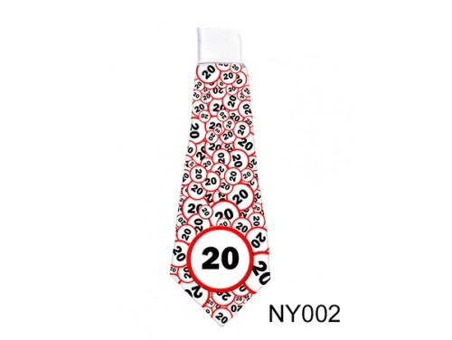 (NY002) Nyakkendő 37 cm x 13 cm - Születésnap 20 karikás – 20. Szülinapi ajándék ötletek