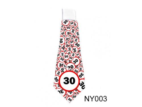 (NY003) Nyakkendő 37 cm x 13 cm - Születésnap 30 karikás – 30. Szülinapi ajándék ötletek