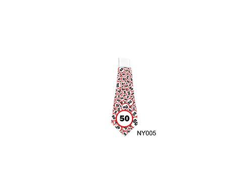 (NY005) Nyakkendő 37 cm x 13 cm - Születésnap 50 karikás – 50. Szülinapi ajándék ötletek