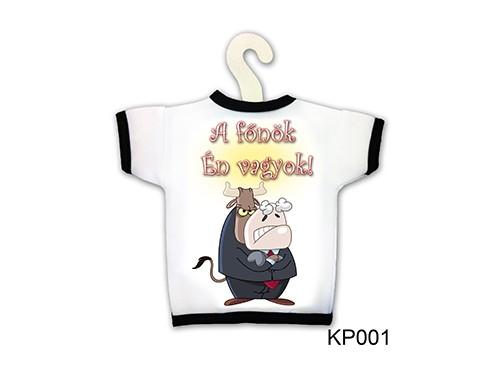 (KP001) Üvegpóló 13 cm x 18 cm - A főnök Én vagyok! - Ajándék Főnöknek