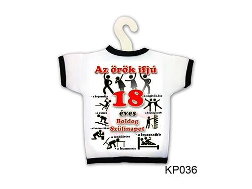 (KP036) Üvegpóló 13 cm x 18 cm - Örök ifjú 18 – 18. Szülinapi ajándék ötletek