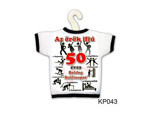 (KP043) Üvegpóló 13 cm x 18 cm - Örök ifjú 50 – 50. Szülinapi ajándék ötletek