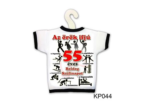 (KP044) Üvegpóló 13 cm x 18 cm - Örök ifjú 55 – 55. Szülinapi ajándék ötletek