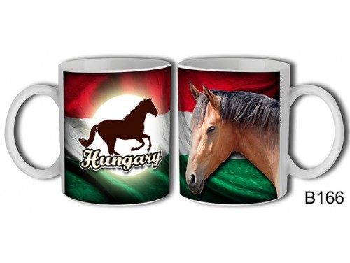 (B166) Bögre 3 dl - Hungary barna lovas - Lovas ajándékok - Magyar souvenir