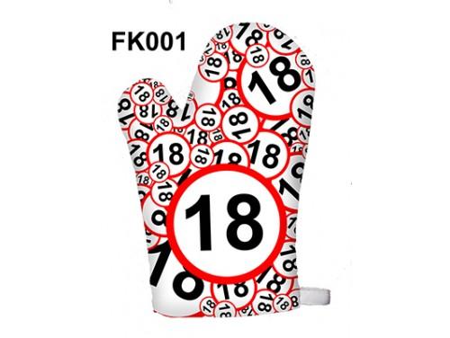 (FK001) Főzőkesztyű 16 cm x 26 cm - 18-as karikás - 18. Szülinapi ajándék ötletek
