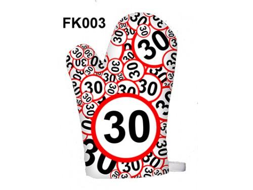 (FK003) Főzőkesztyű 16 cm x 26 cm - 30-as karikás - 30. Szülinapi ajándék ötletek