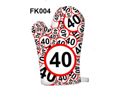 (FK004) Főzőkesztyű 16 cm x 26 cm - 40-es karikás - 40. Szülinapi ajándék ötletek