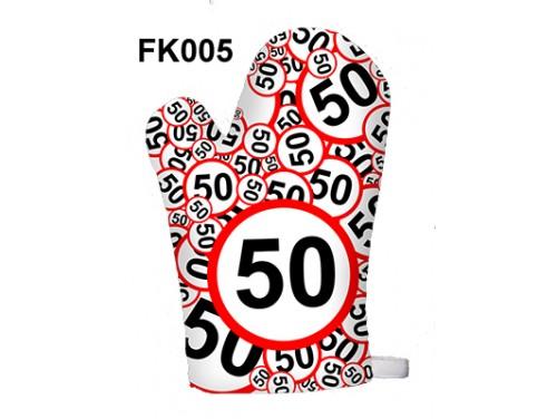 (FK005) Főzőkesztyű 16 cm x 26 cm - 50-es karikás - 50. Szülinapi ajándék ötletek