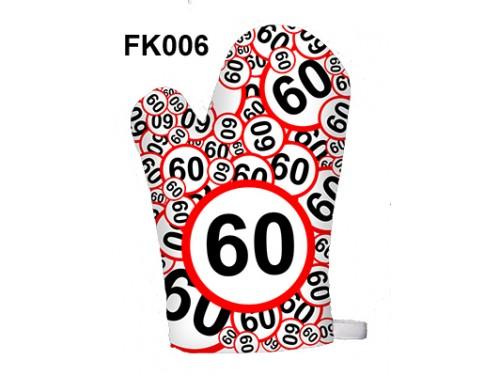 (FK006) Főzőkesztyű 16 cm x 26 cm - 60-as karikás - 60. Szülinapi ajándék ötletek