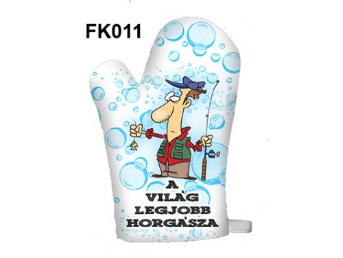 (FK011) Főzőkesztyű 16 cm x 26 cm - A világ legjobb horgásza - Ajándék Horgászoknak