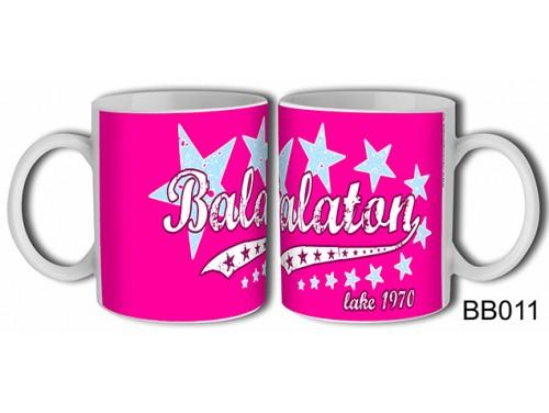 (BB011) Bögre 3 dl - Pink csillagos Balaton - Balatonos Ajándéktárgyak - Balaton Souvenir