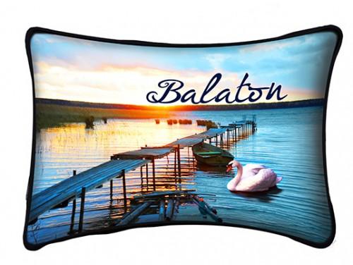 (PB008) Párna 37 cm x 27 cm - Stég naplemente - Balatonos Ajándéktárgyak