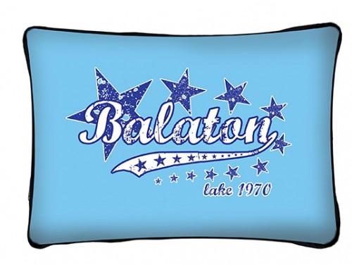 (PB010) Párna 37 cm x 27 cm - Kék csillagos Balaton - Balatonos Ajándéktárgyak